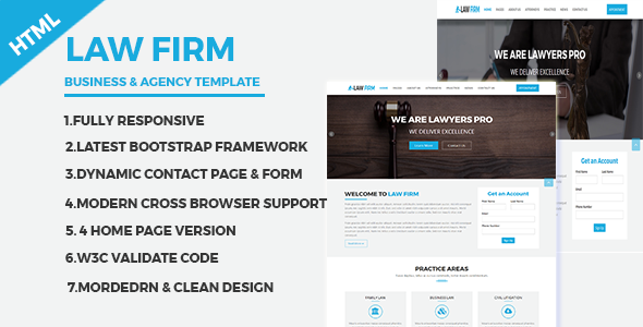 Law Firm – Business and Agency Responsive HTML Template