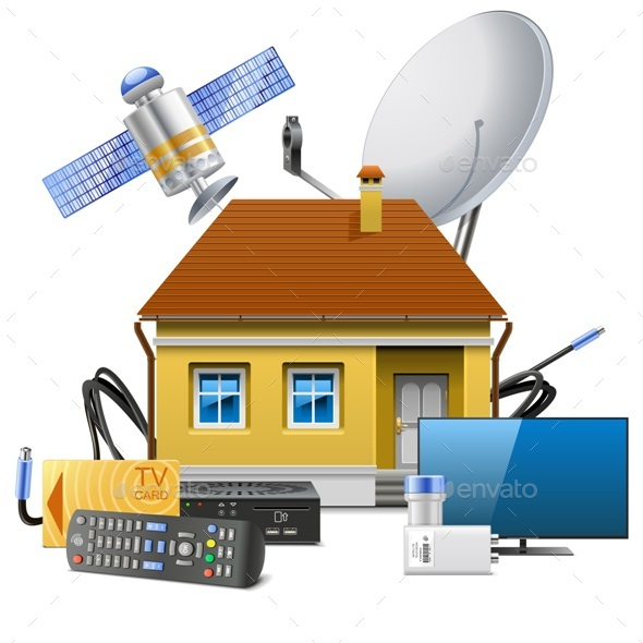 House with Satellite Equipment - Communications Technology