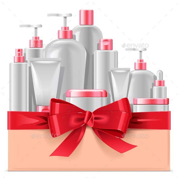 Cosmetic Packaging with Red Bow - Retail Commercial / Shopping