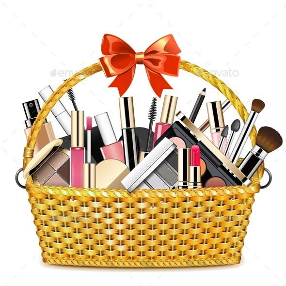 Basket with Makeup Cosmetics - Retail Commercial / Shopping