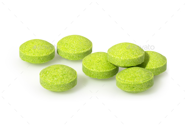 Green yellow pills closeup macro photography - Stock Photo - Images