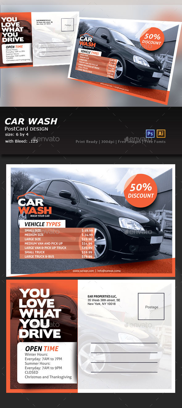 Car Wash Post Card - Flyers Print Templates