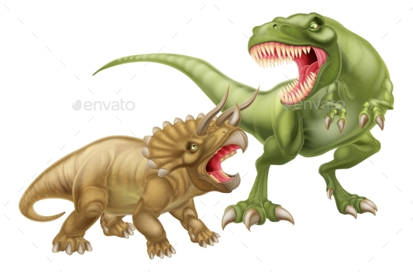 T Rex Versus Triceratops - Objects Vectors