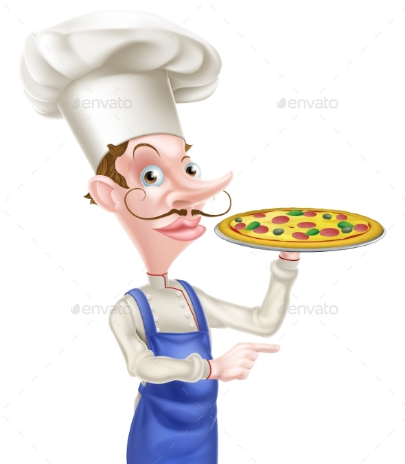 Pizza Chef Pointing - Food Objects