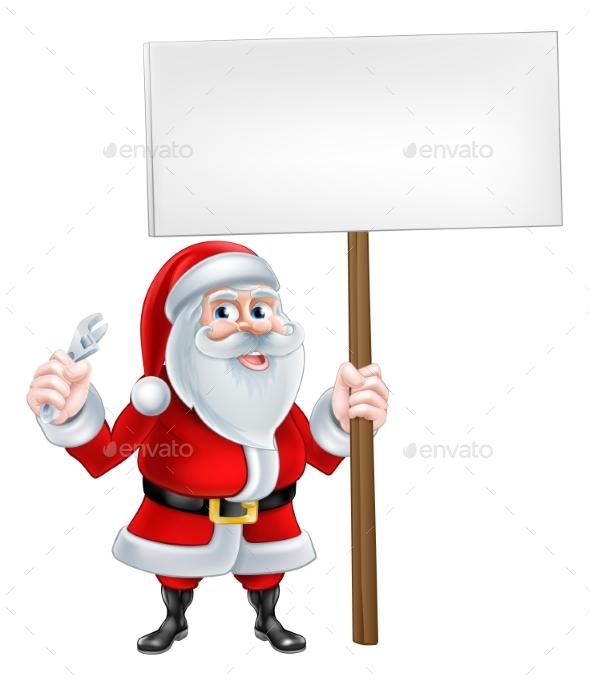 Santa Mechanic Sign - Miscellaneous Vectors