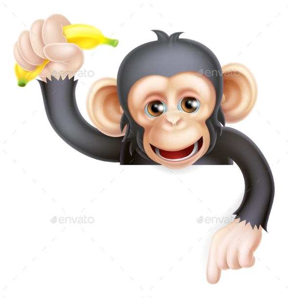 Banana Chimp Monkey Pointing - Animals Characters