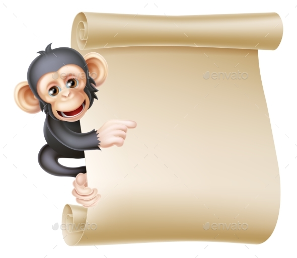 Cartoon Monkey Scroll - Animals Characters