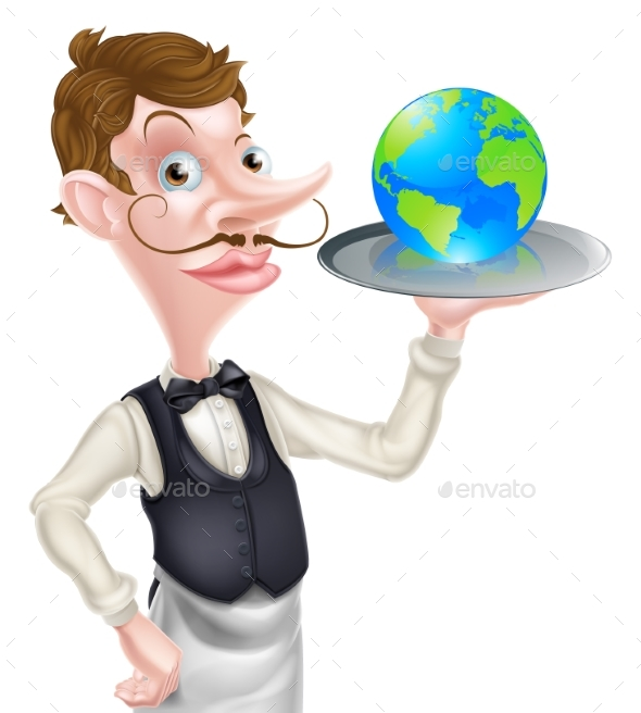 Waiter Holding Globe - Miscellaneous Vectors
