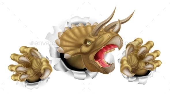 Triceratops Dinosaur Claws Tearing - Animals Characters