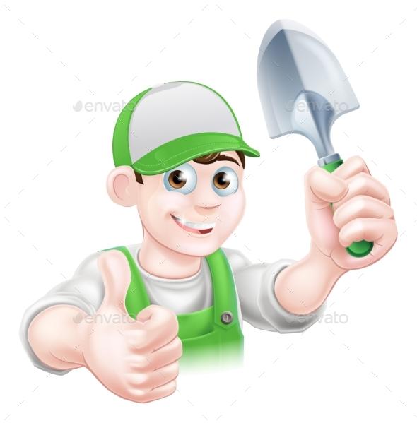 Cartoon Gardener Holding Trowel - People Characters