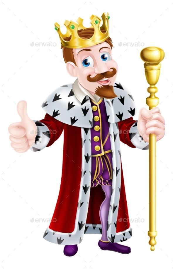 Friendly King Cartoon - People Characters