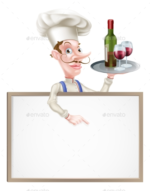 Wine Chef Sign - Food Objects