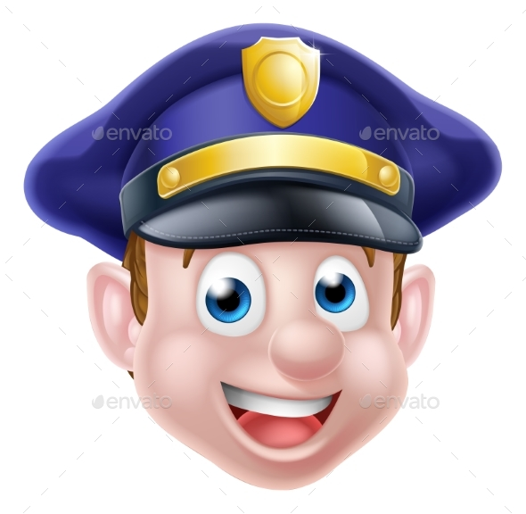 Cartoon Policeman Face - People Characters