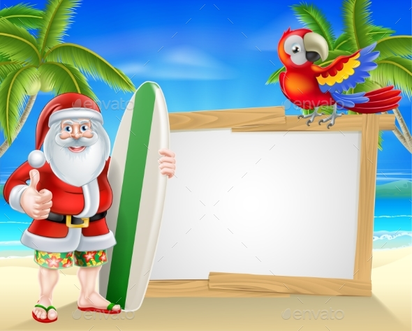 Surf Board Santa Tropical Beach Sign - Seasons/Holidays Conceptual