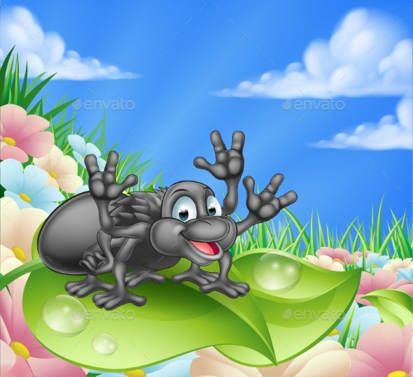Cartoon Spider in Meadow - Animals Characters