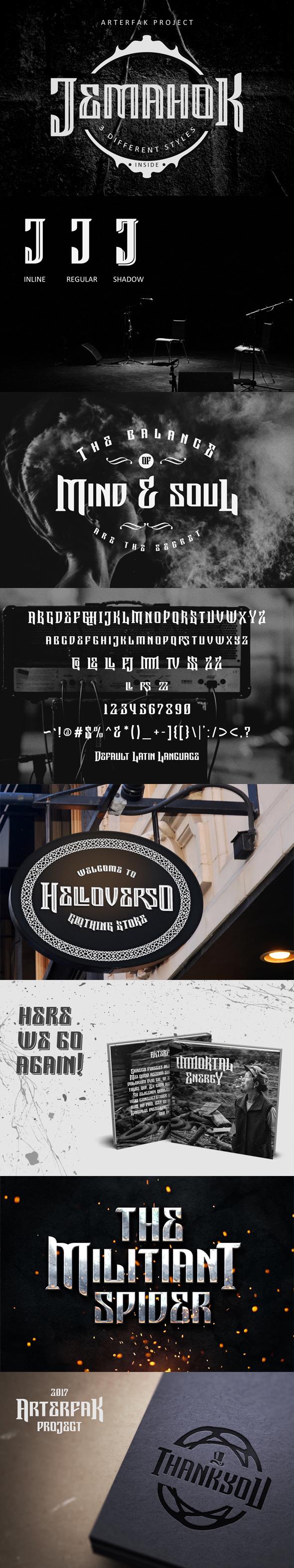 Jemahok Typeface - Futuristic Decorative