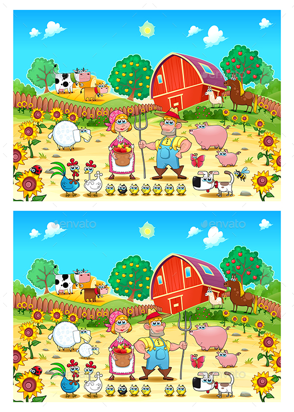 Spot the Differences - Animals Characters