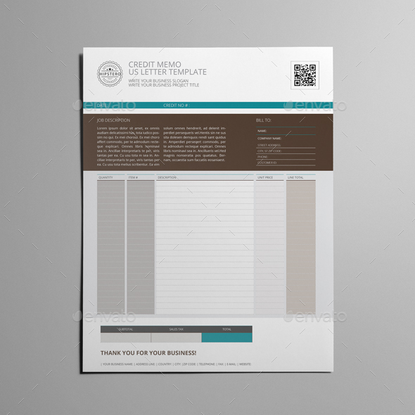 Credit Memo US Letter Template by Keboto | GraphicRiver