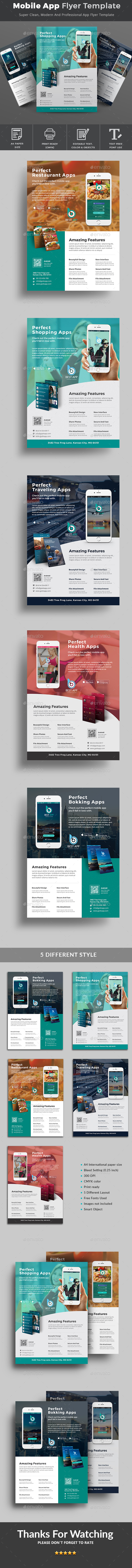 Mobile App Flyer Template - Flyers Print Templates