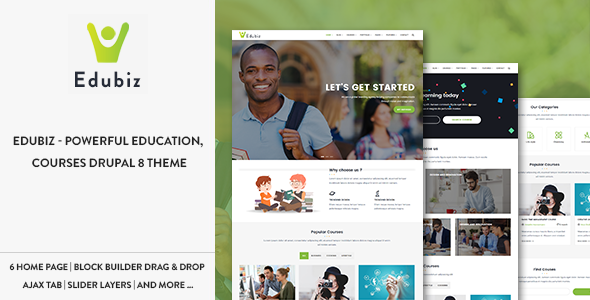 Edubiz - Powerful Education, Courses Drupal 8 Theme