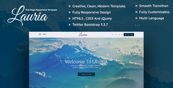Lauria – One Page Responsive Template
