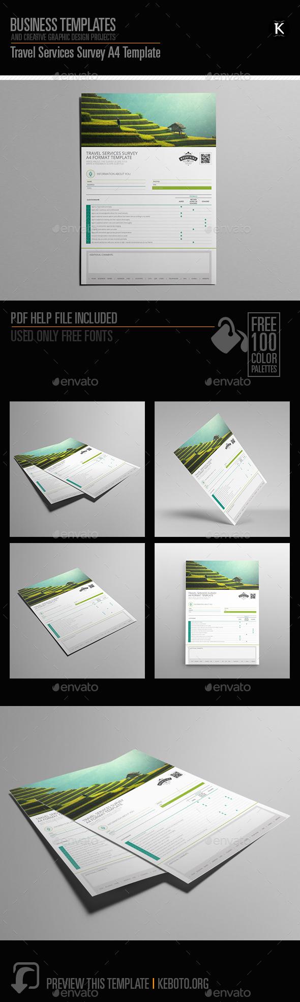 Travel Services Survey A4 Template - Miscellaneous Print Templates