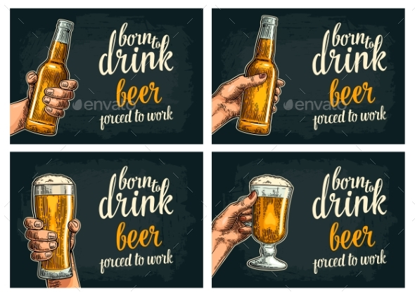 Female and Male Hands Holding Beer Bottles - Miscellaneous Vectors