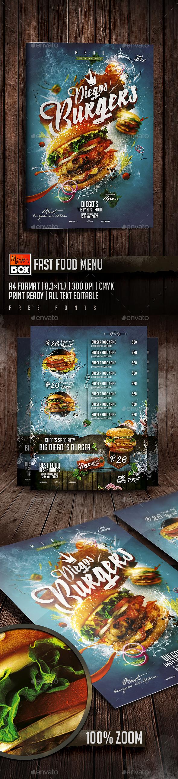 Fast Food Menu - Food Menus Print Templates