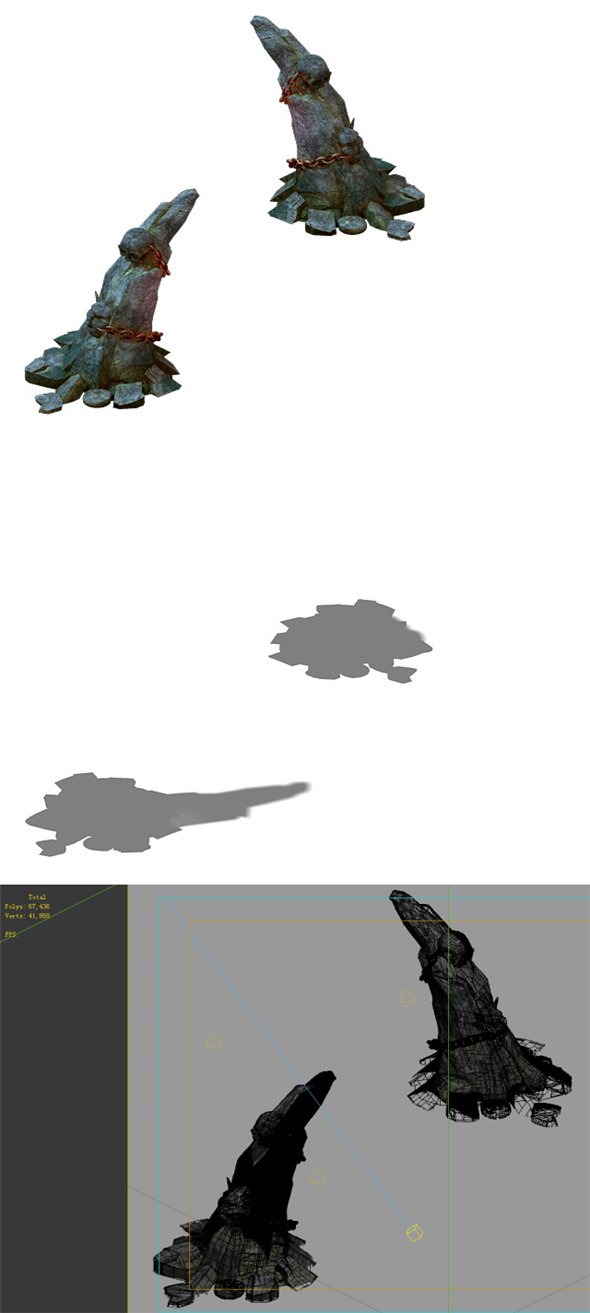 Game Models - poison Valley scene - projections poison stone teeth - 3DOcean Item for Sale