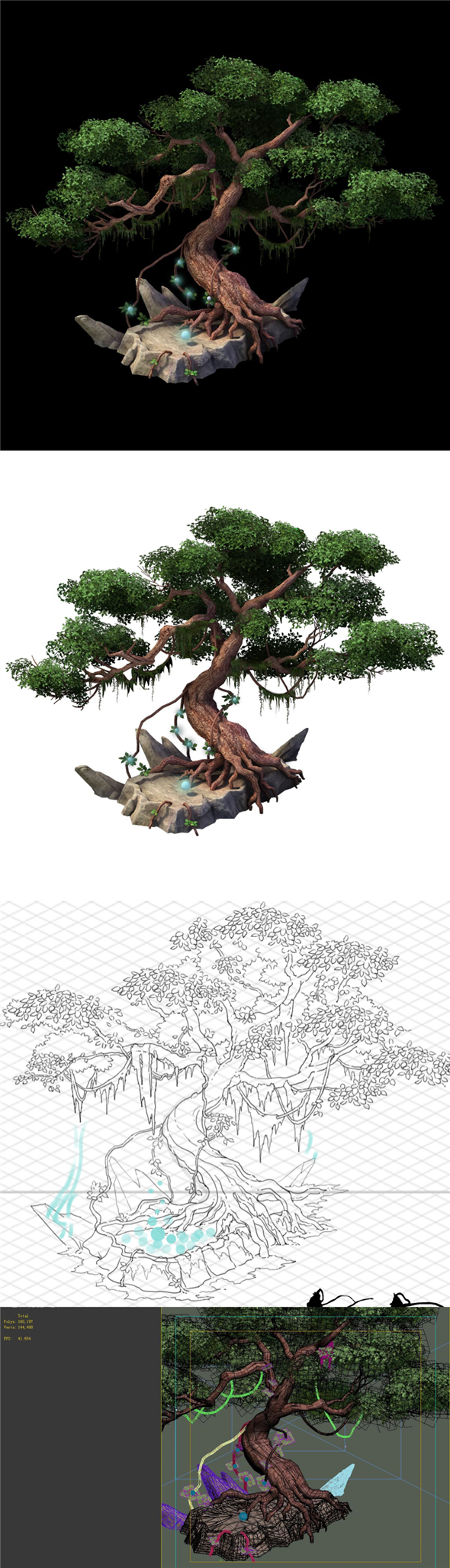 Game Model - Moon White Tree - 3DOcean Item for Sale