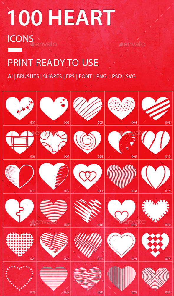 JI-Heart (100 Icons) - Abstract Icons