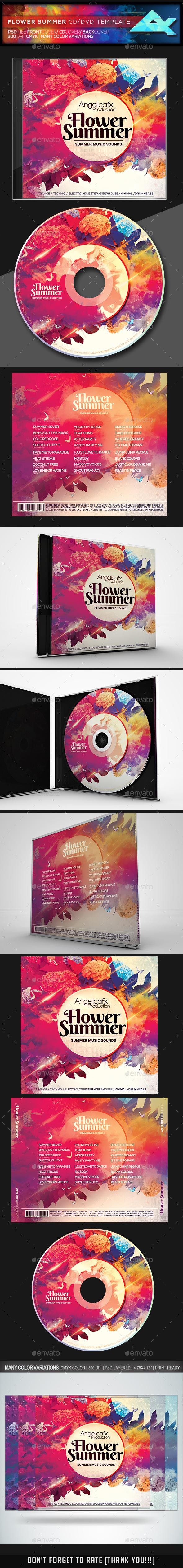 Summer Flower CD/DVD Template - CD & DVD Artwork Print Templates