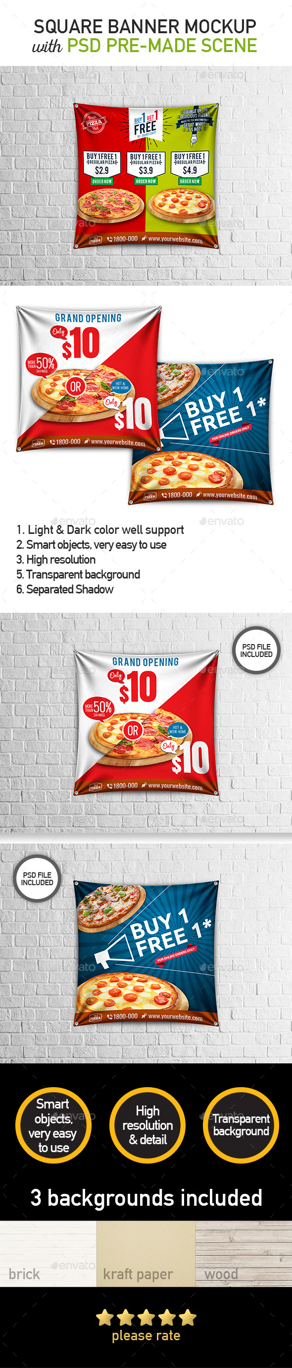 Square Hanging Banner Mockup - Food and Drink Packaging
