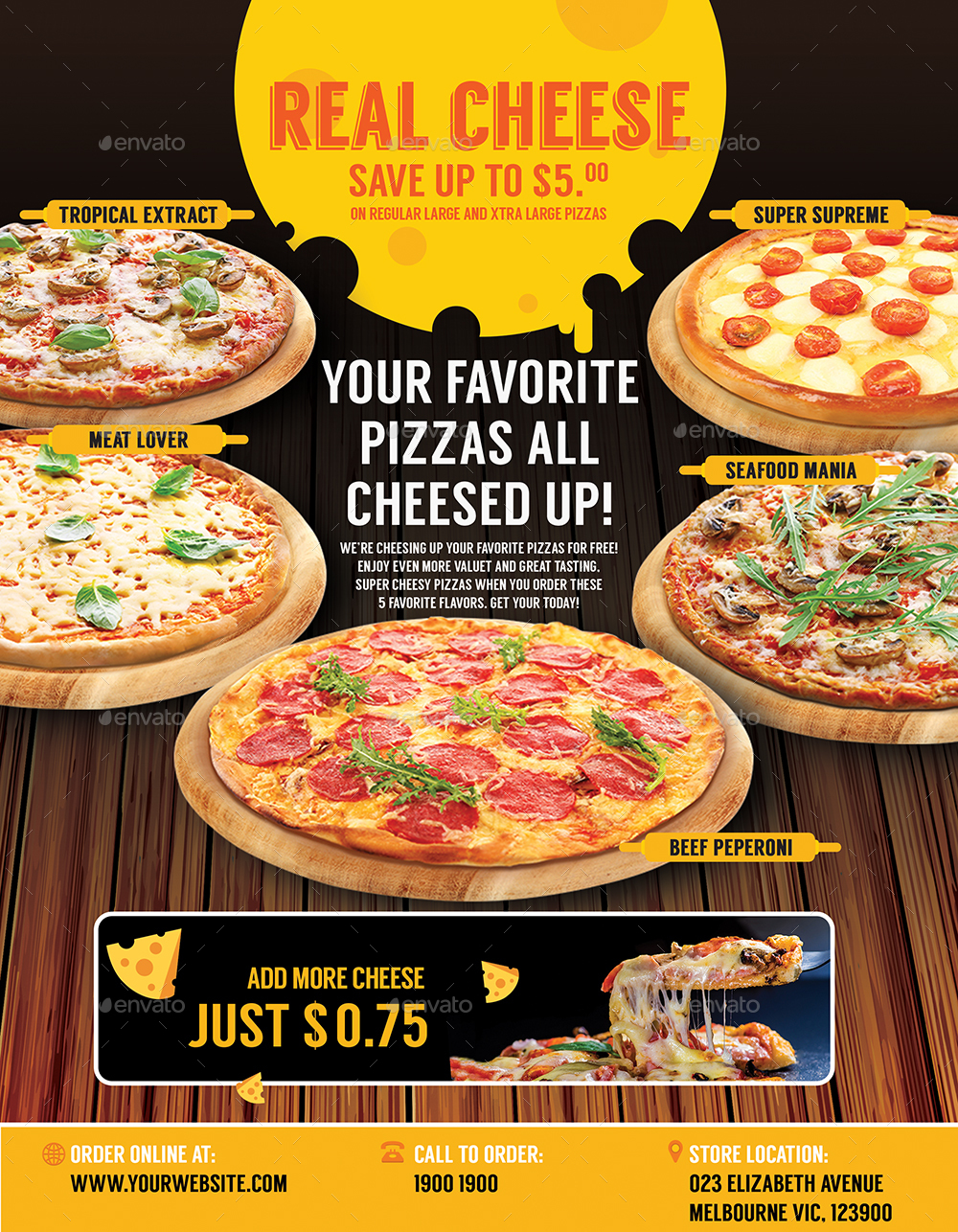 pizza menu restaurant promotion template for poster