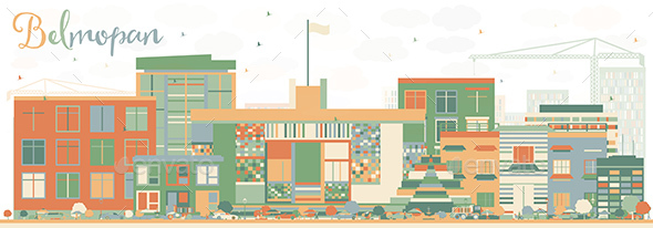 Abstract Belmopan Skyline with Color Buildings - Buildings Objects