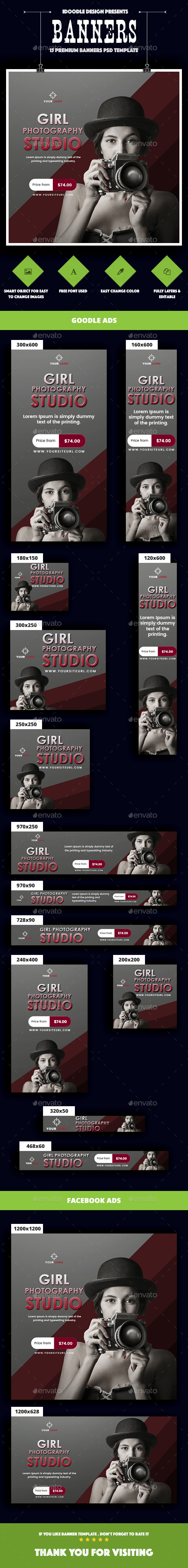 Girl Photography Banners Ads - Banners & Ads Web Elements