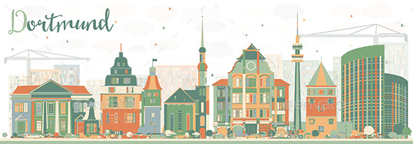 Abstract Dortmund Skyline with Color Buildings - Buildings Objects