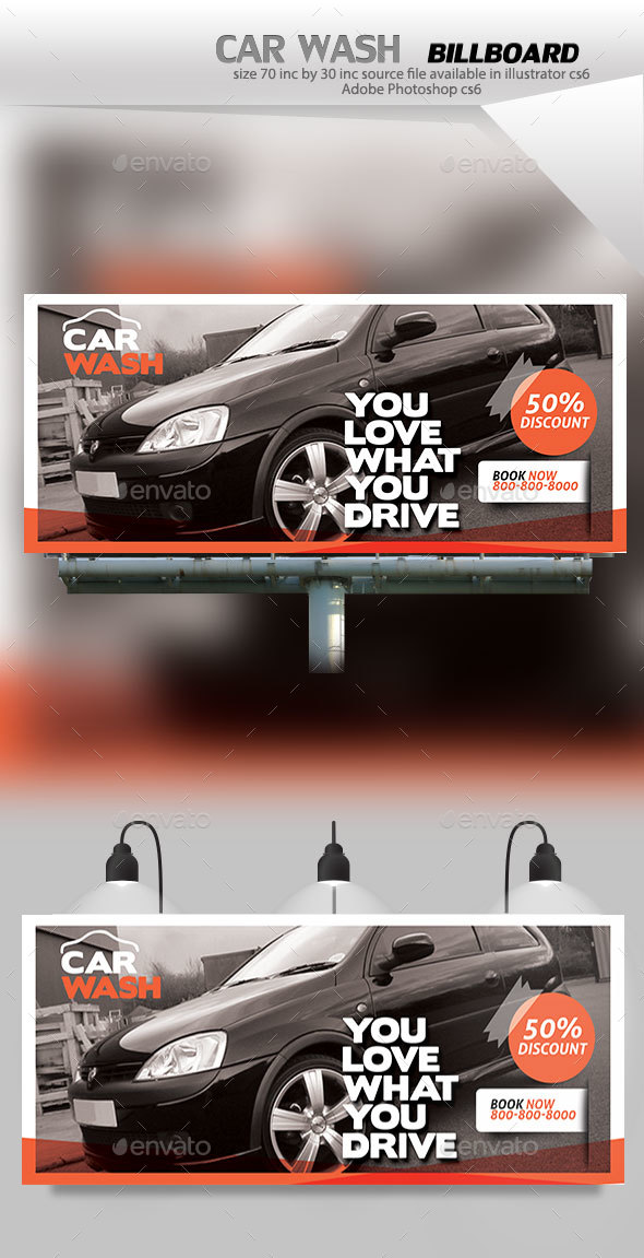 Car Wash BillBoard - Signage Print Templates