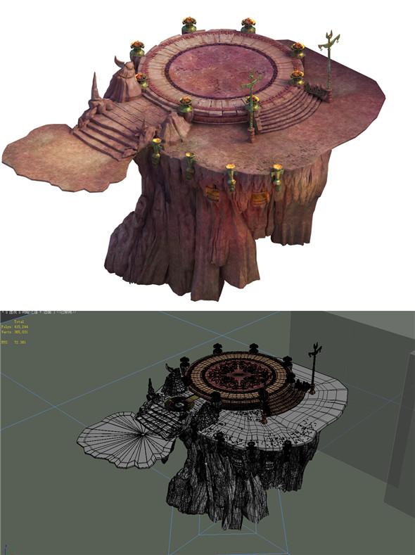 Built on cliff religious altar Kui Zoroastrianism 01 - 3DOcean Item for Sale