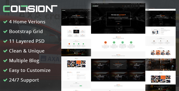 Collision- Car Repair PSD Template