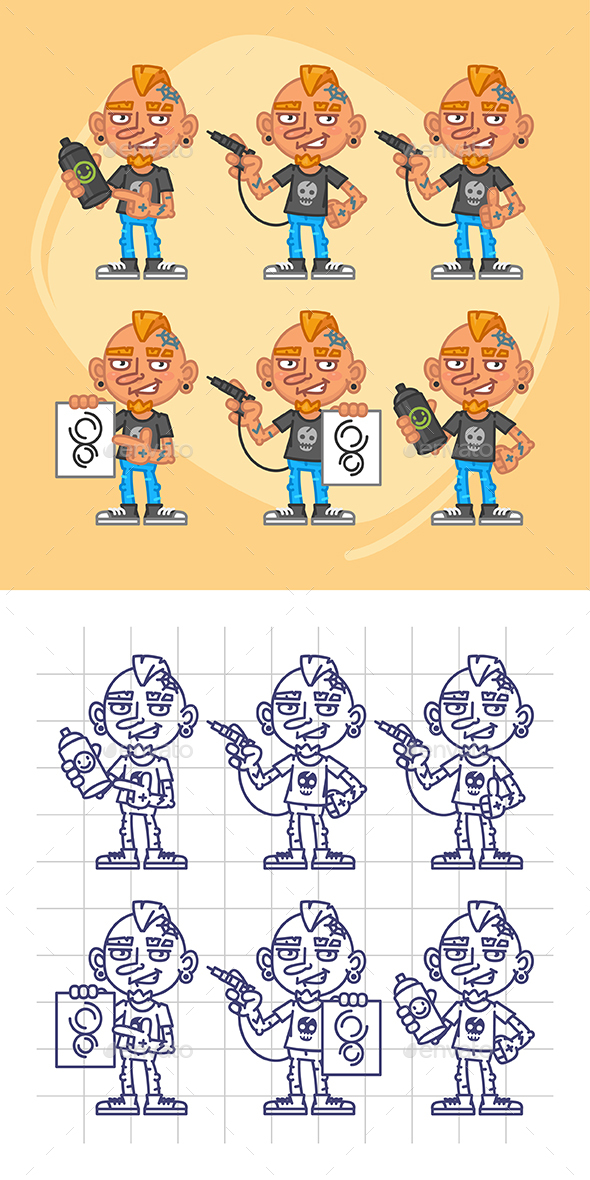Tattooist Character in Various Positions Part 2 - People Characters