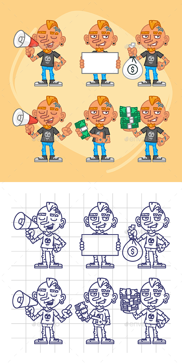 Tattooist Character in Various Positions Part 3 - People Characters