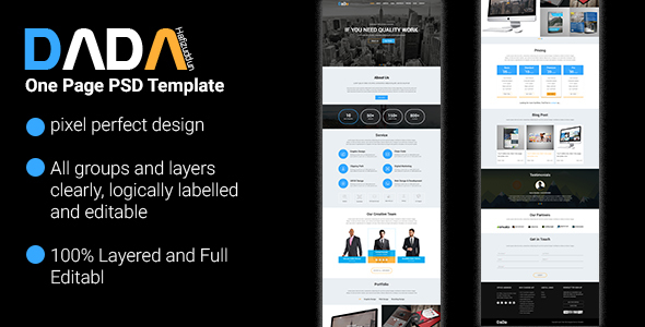 DaDa - Onepage Corporate Template - Creative PSD Templates