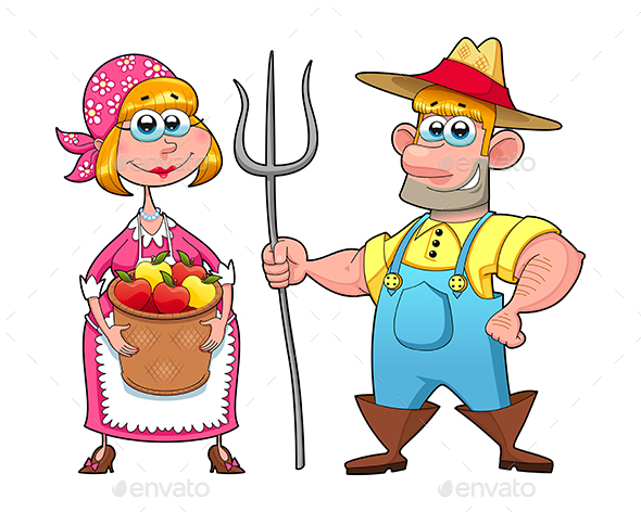 Funny Couple of Farmers. - People Characters