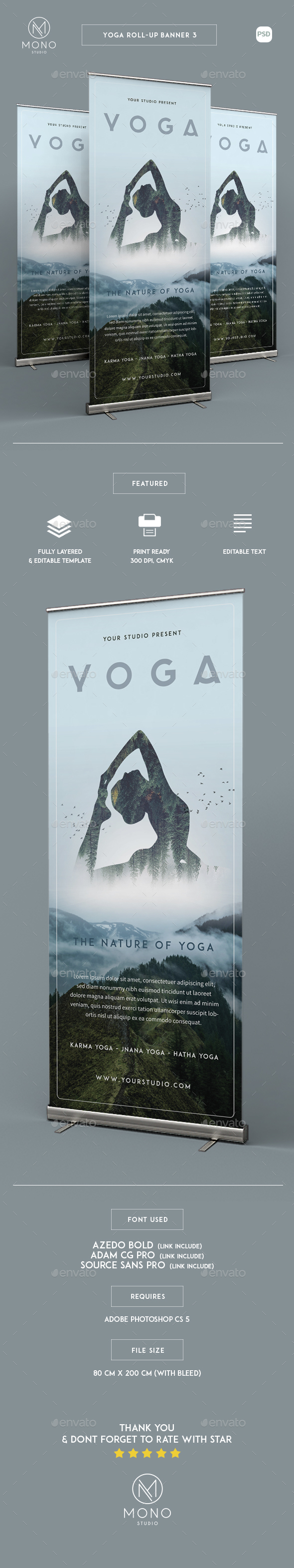 Yoga Roll Up Banner 3 - Signage Print Templates