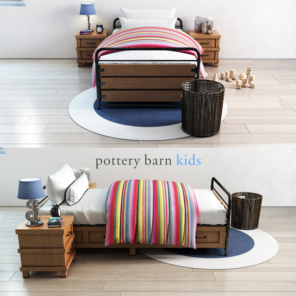 Pottery barn, Owen Platform Storage Bed - 3DOcean Item for Sale