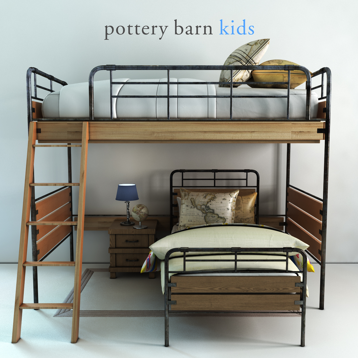 Pottery barn, Owen Twin Loft & Lower Bed Set by Erkin_Aliyev | 3DOcean
