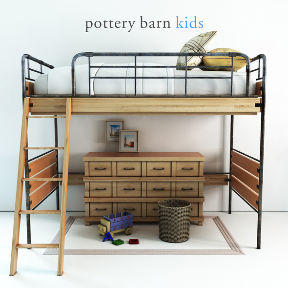 Pottery barn, Owen Twin Loft Bed - 1 - 3DOcean Item for Sale