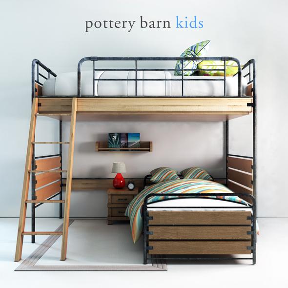 Pottery barn, Owen Twin Loft Bed - 3DOcean Item for Sale