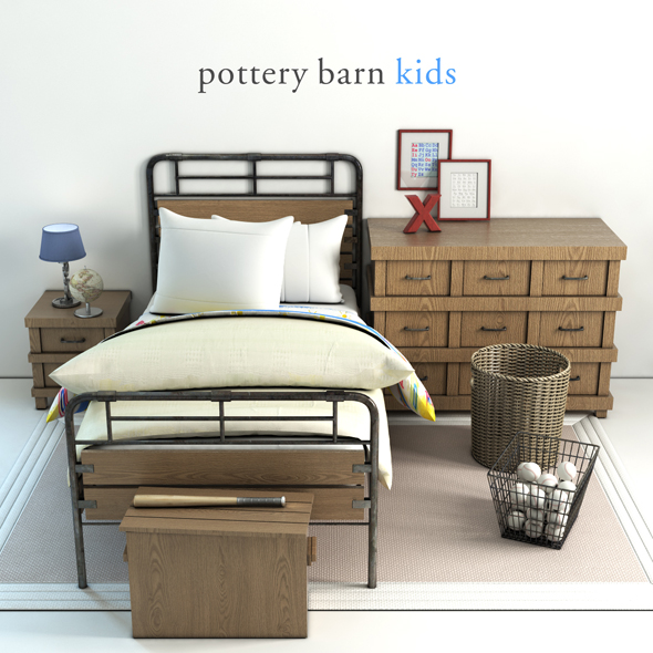 Pottery barn, Owen bed - 3DOcean Item for Sale